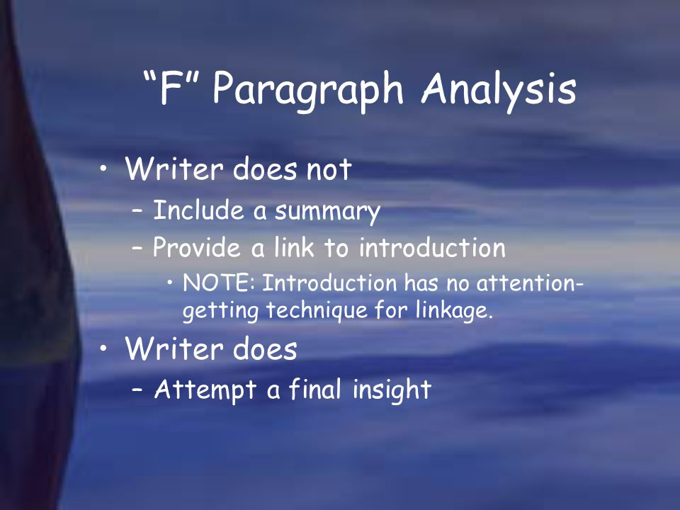 F Paragraph Analysis