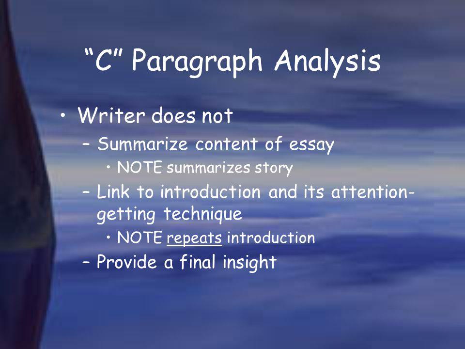 C Paragraph Analysis