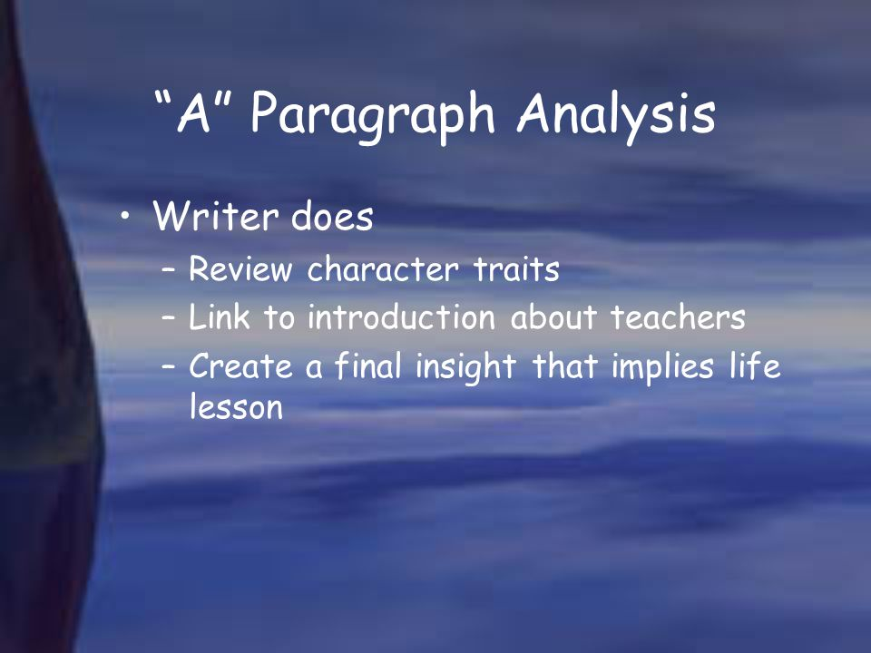 A Paragraph Analysis