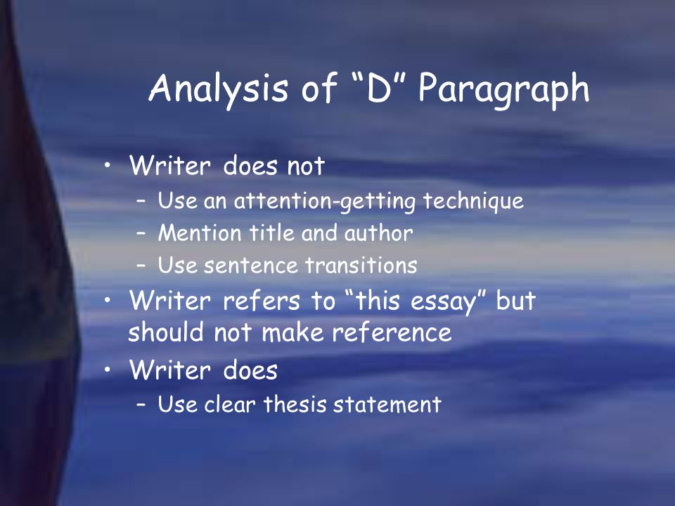 Analysis of D Paragraph