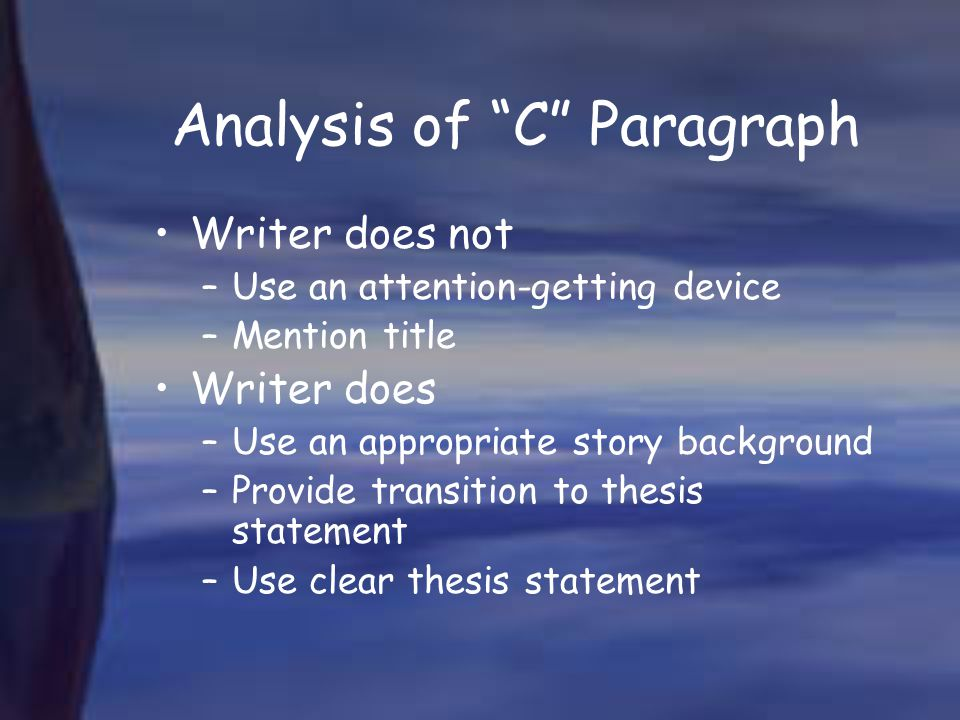 Analysis of C Paragraph