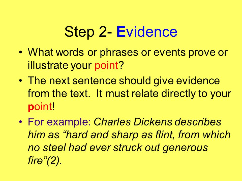 Step 2- Evidence What words or phrases or events prove or illustrate your point