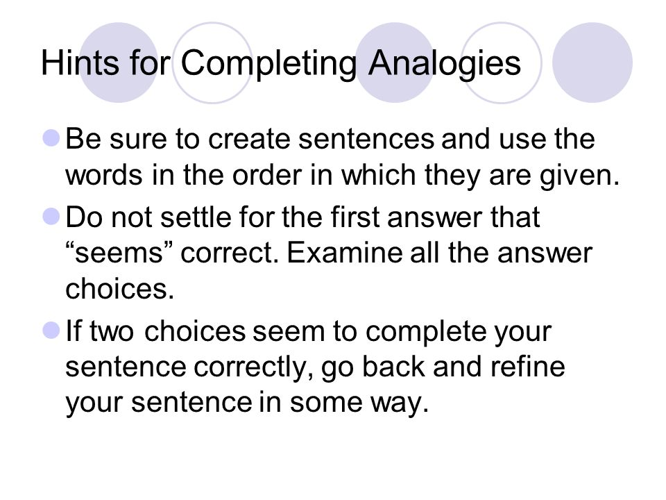 Hints for Completing Analogies
