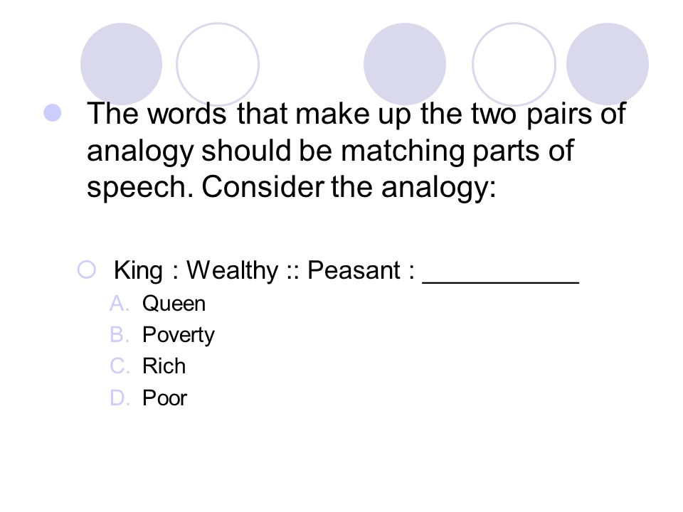 The words that make up the two pairs of analogy should be matching parts of speech. Consider the analogy:
