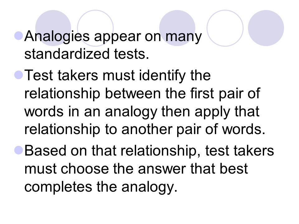 Analogies appear on many standardized tests.
