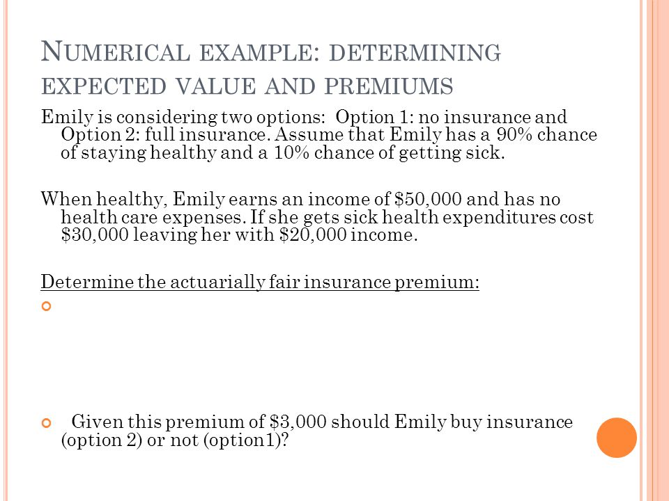 Numerical example: determining expected value and premiums