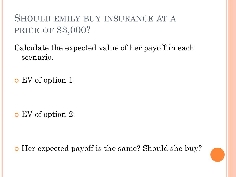 Should emily buy insurance at a price of $3,000
