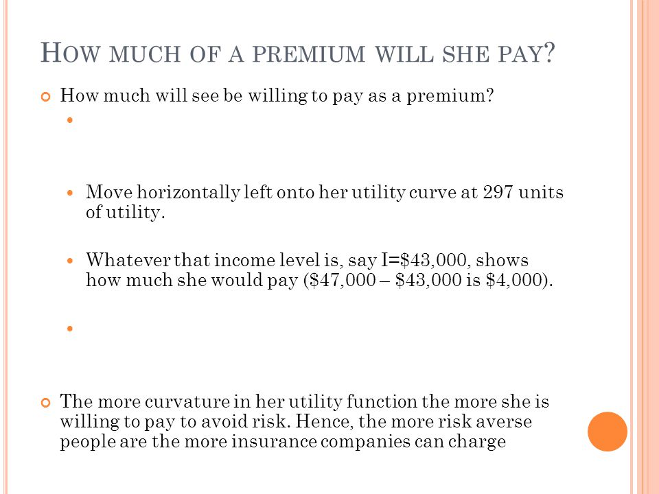 How much of a premium will she pay