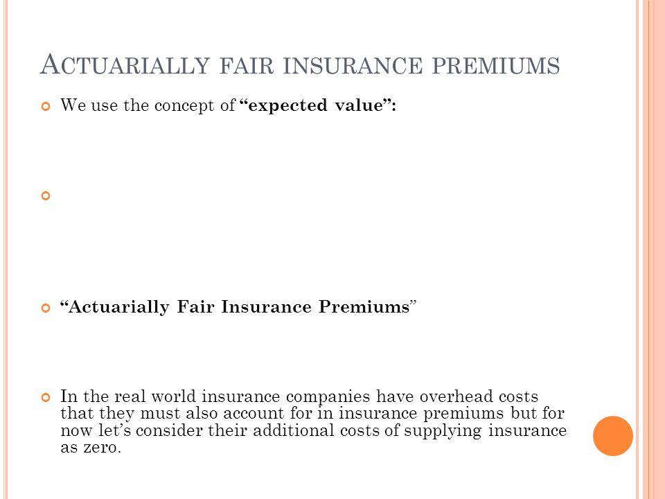 Actuarially fair insurance premiums