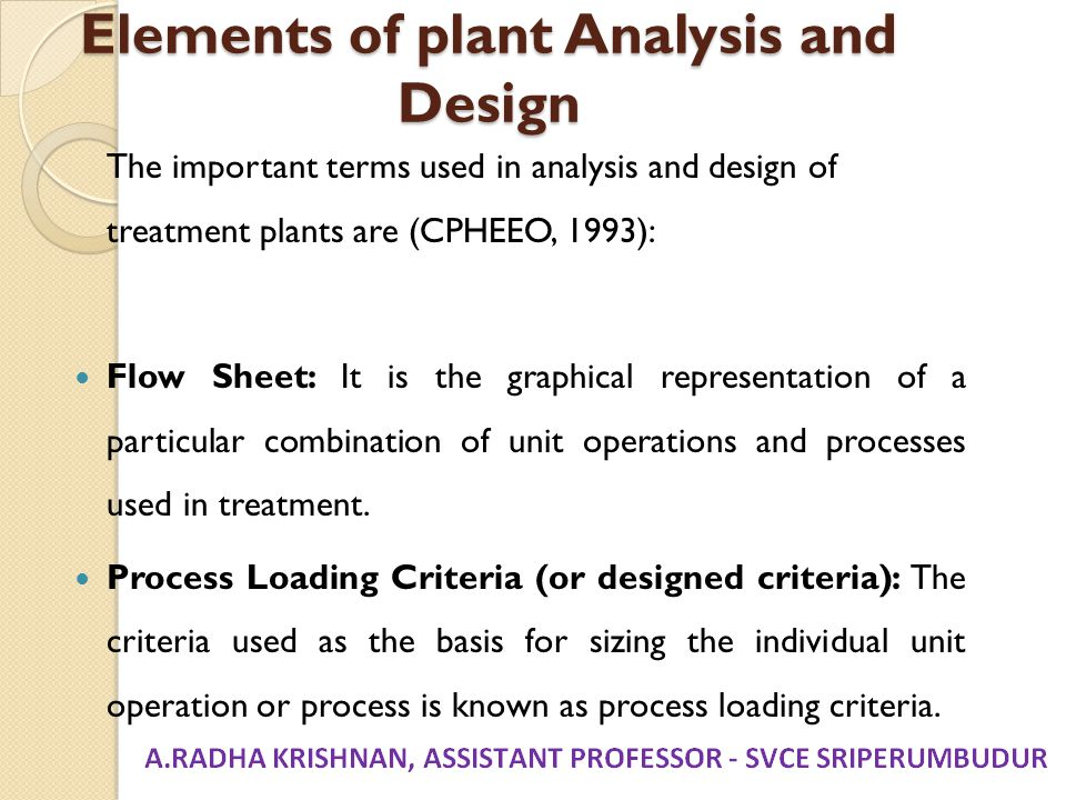 Elements of plant Analysis and Design