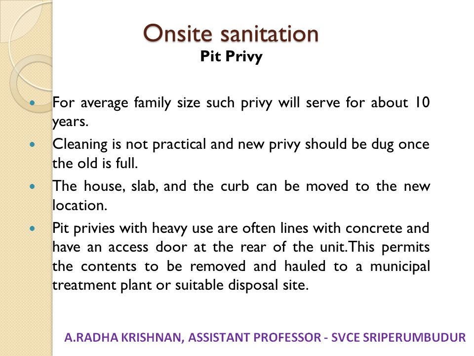 Onsite sanitation Pit Privy