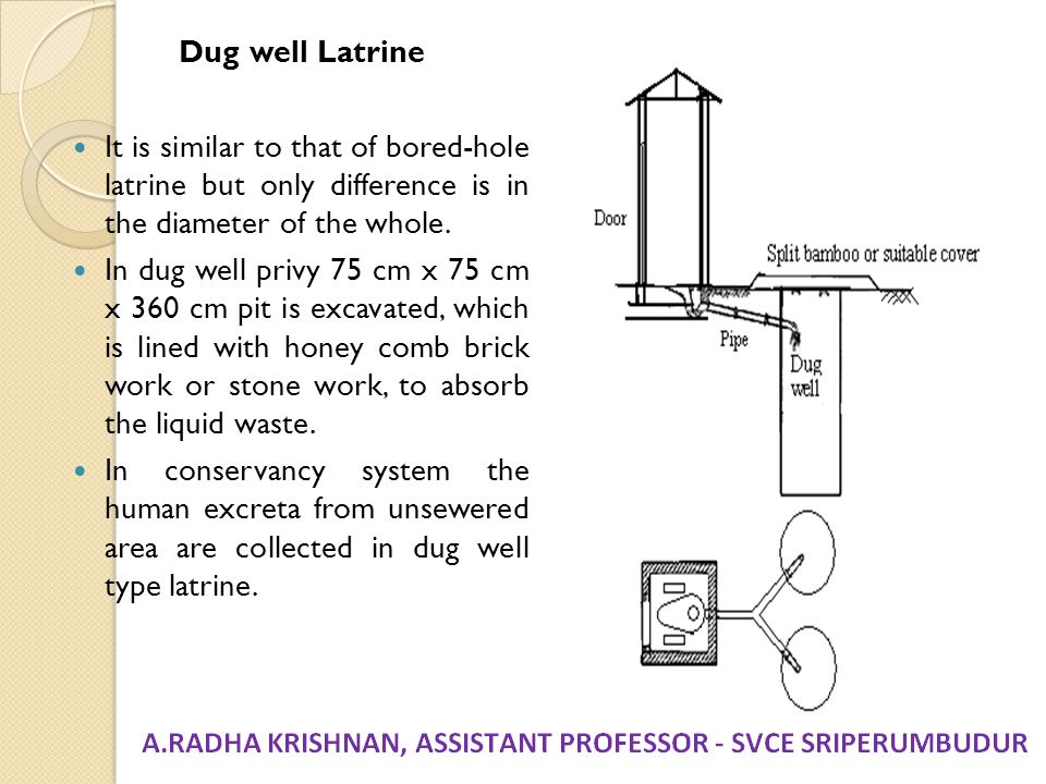 Dug well Latrine It is similar to that of bored-hole latrine but only difference is in the diameter of the whole.