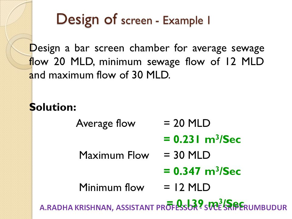 Design of screen - Example 1