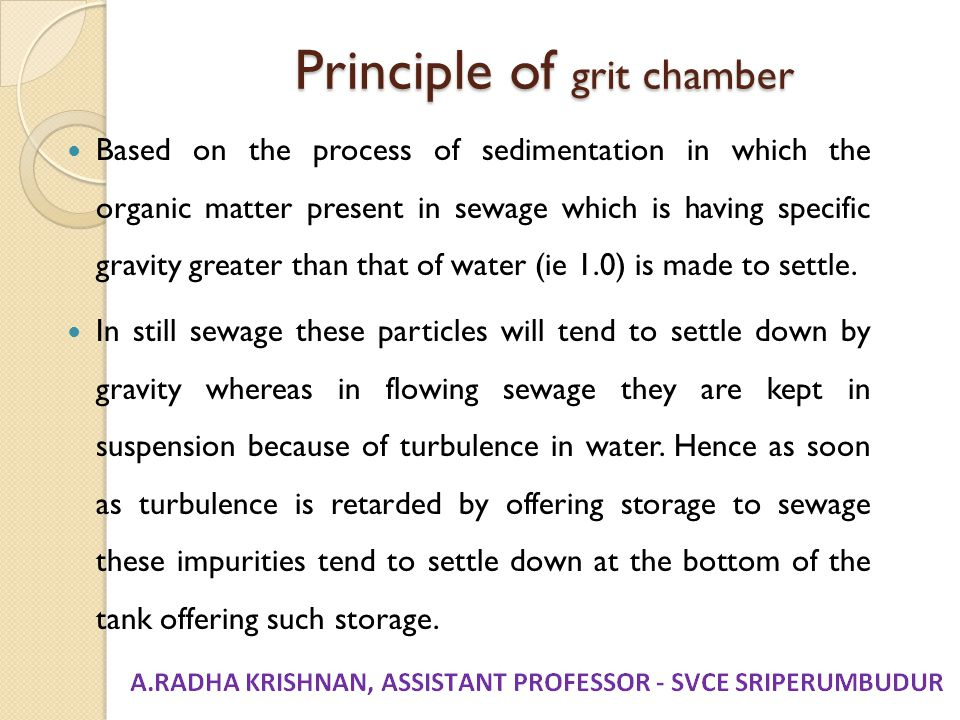 Principle of grit chamber