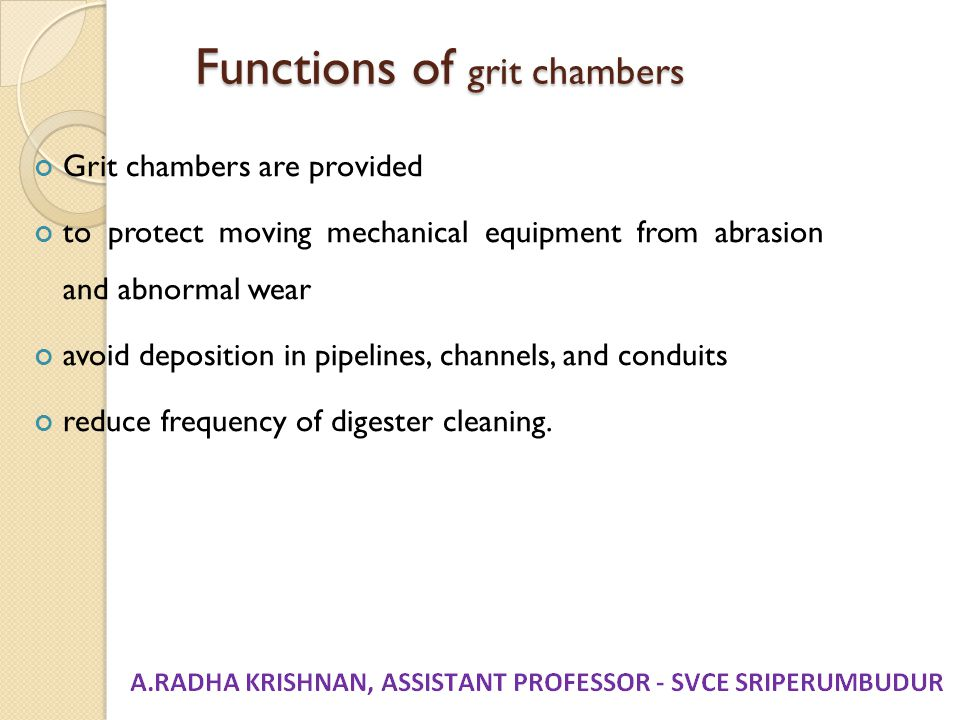 Functions of grit chambers