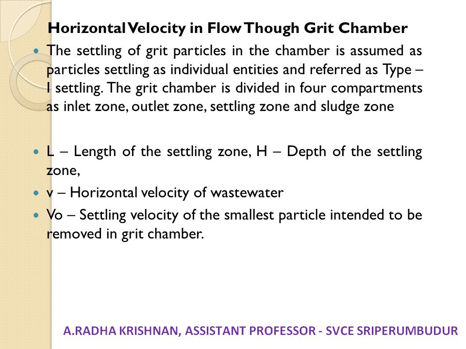 Horizontal Velocity in Flow Though Grit Chamber