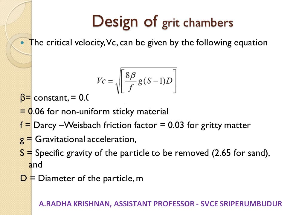 Design of grit chambers