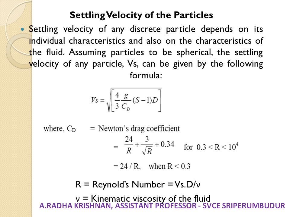 Settling Velocity of the Particles