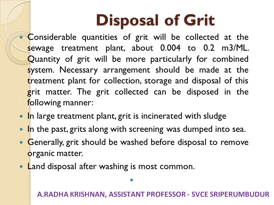 Disposal of Grit