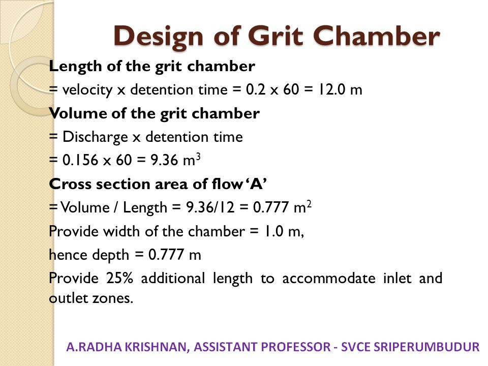 Design of Grit Chamber
