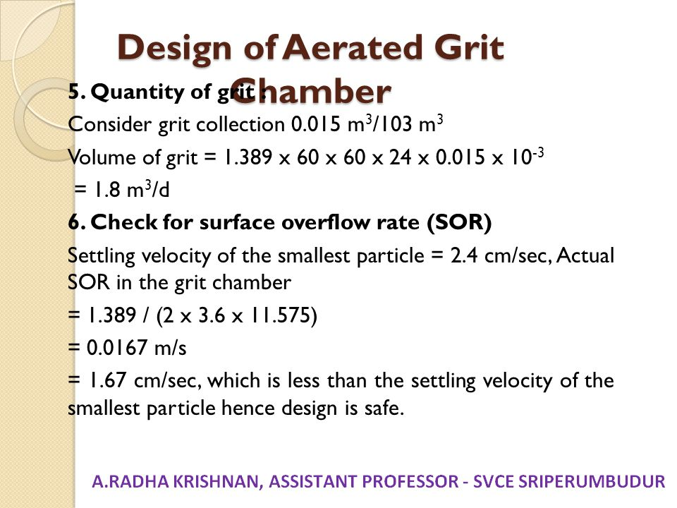 Design of Aerated Grit Chamber