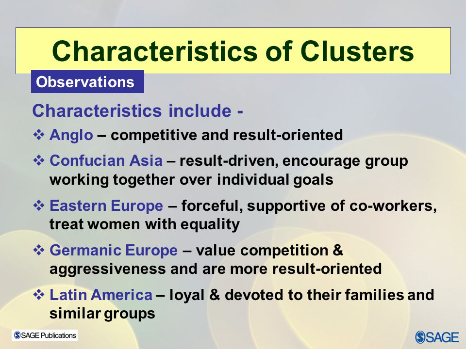 Characteristics of Clusters