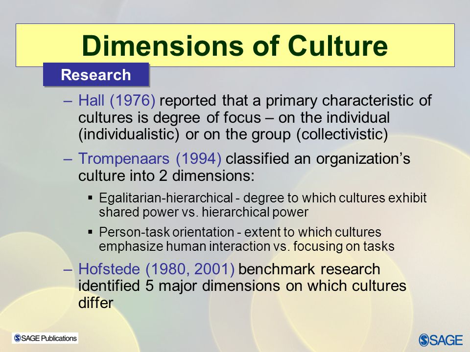 Dimensions of Culture Research