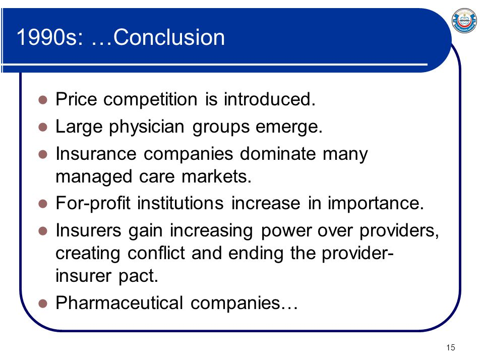 1990s: …Conclusion Price competition is introduced.