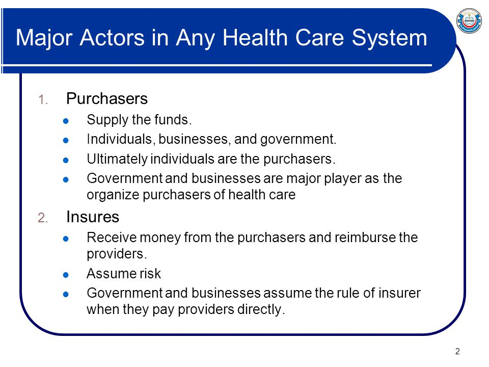 Major Actors in Any Health Care System