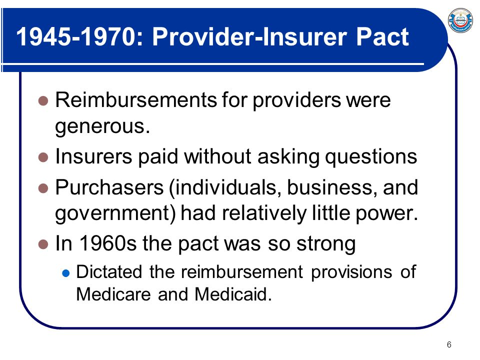 1945-1970: Provider-Insurer Pact