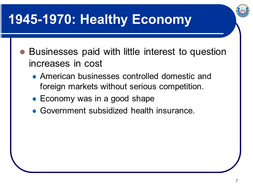1945-1970: Healthy Economy Businesses paid with little interest to question increases in cost.