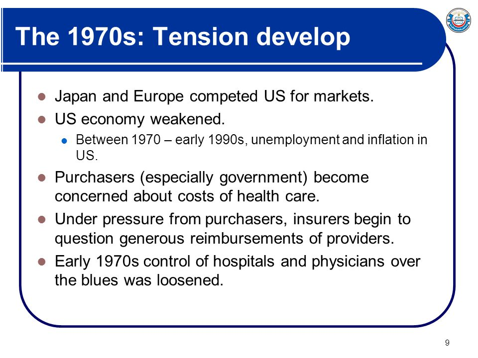The 1970s: Tension develop Japan and Europe competed US for markets.