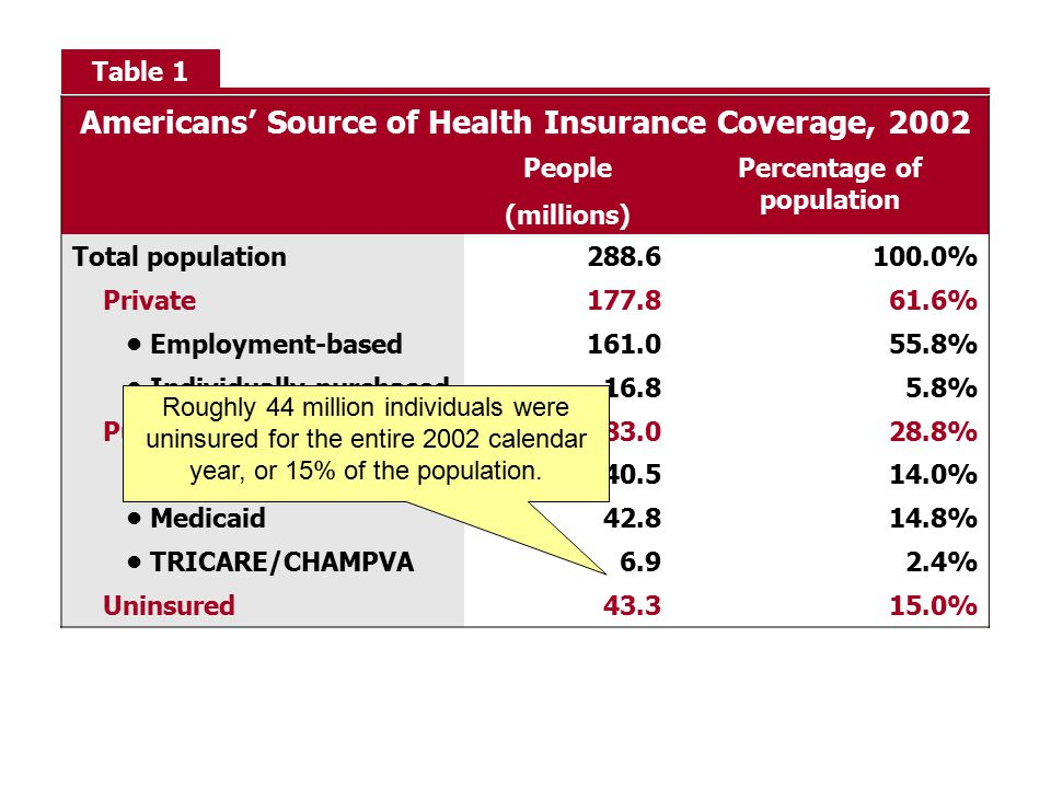 Americans' Source of Health Insurance Coverage, 2002