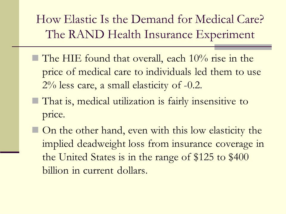 How Elastic Is the Demand for Medical Care