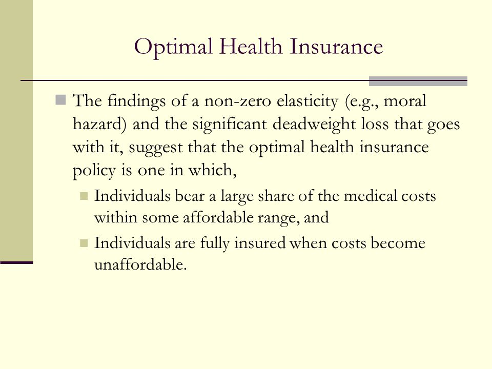 Optimal Health Insurance