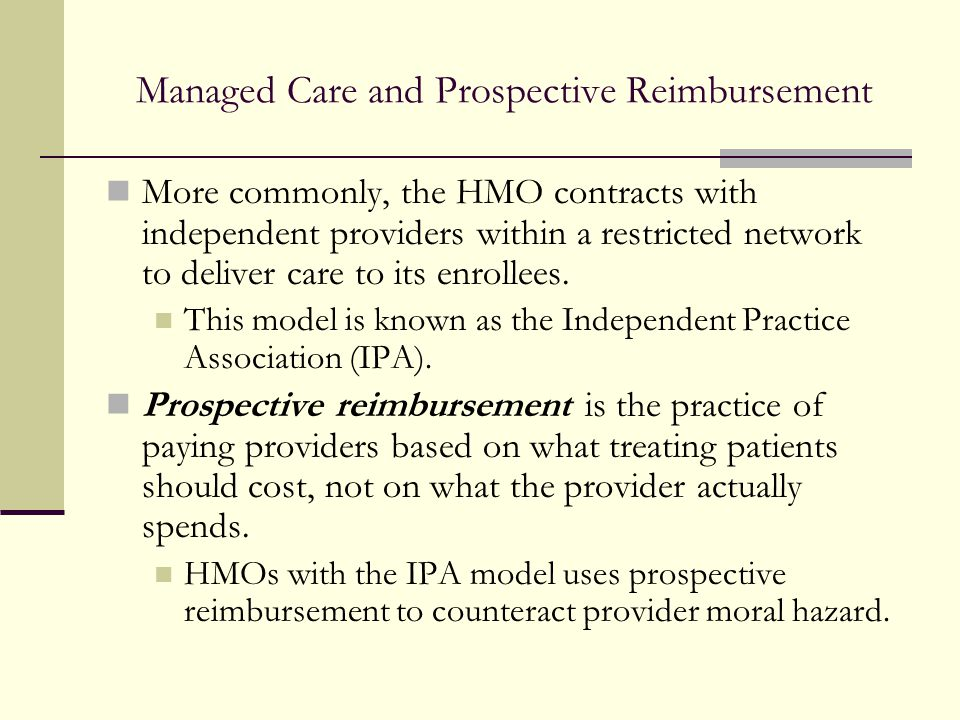 Managed Care and Prospective Reimbursement