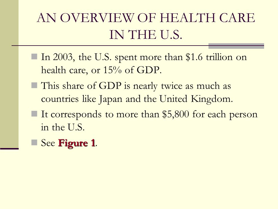 AN OVERVIEW OF HEALTH CARE IN THE U.S.
