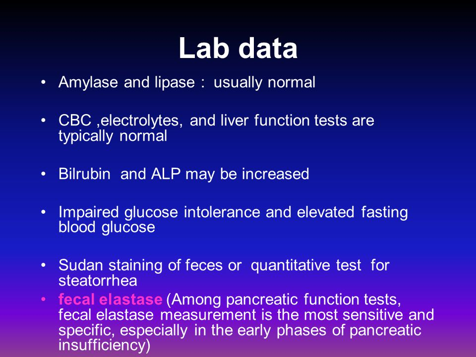 Lab data Amylase and lipase : usually normal