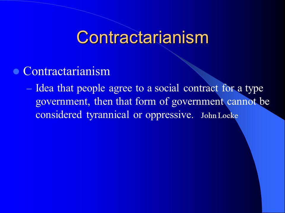 Contractarianism Contractarianism