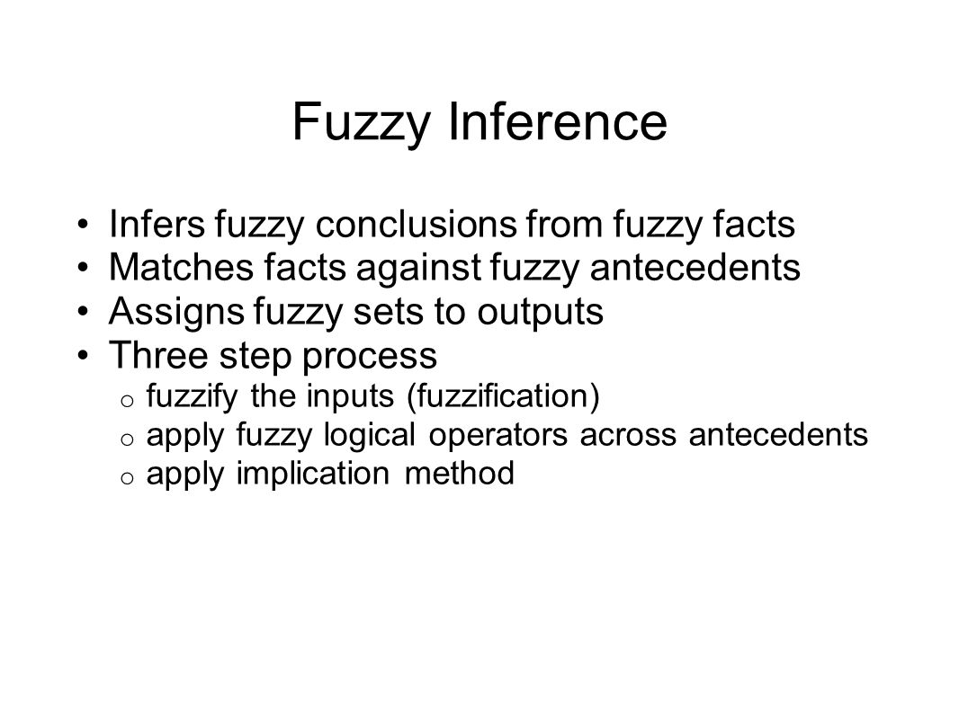 Fuzzy Inference Infers fuzzy conclusions from fuzzy facts