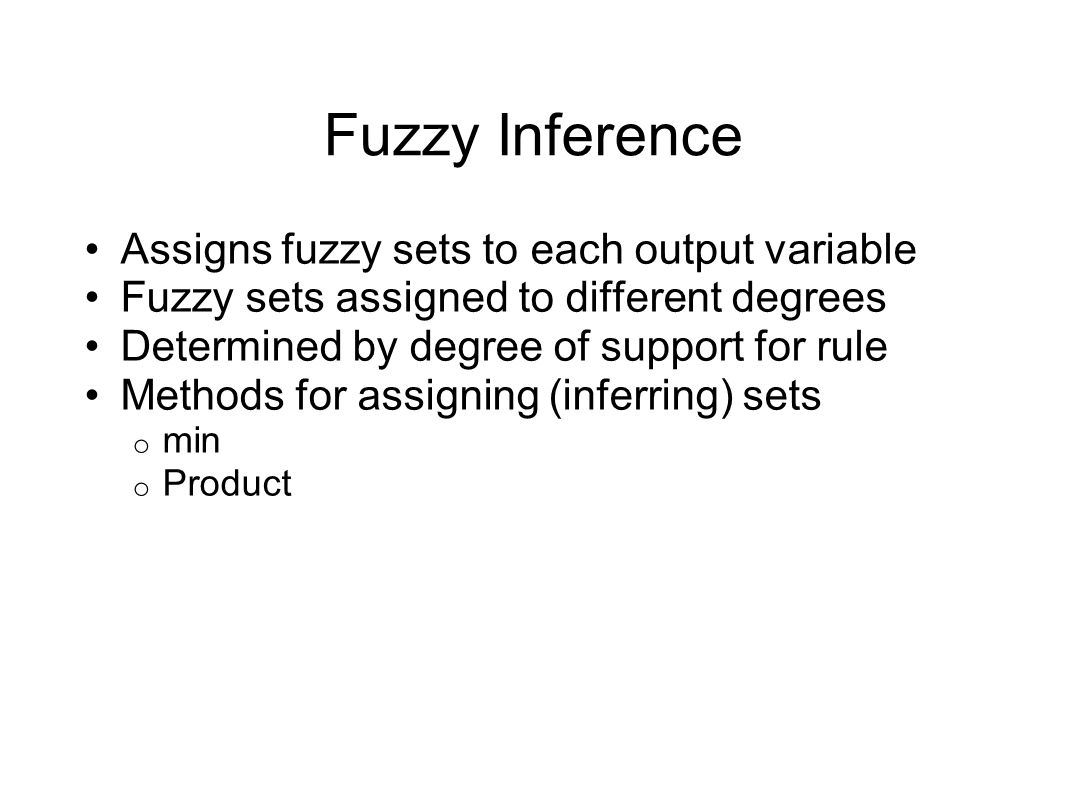 Fuzzy Inference Assigns fuzzy sets to each output variable