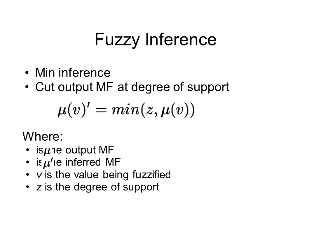 Min inference Cut output MF at degree of support