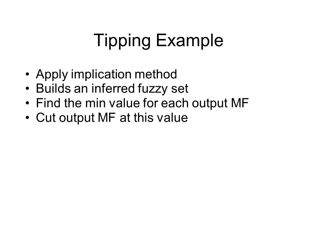 Tipping Example Apply implication method Builds an inferred fuzzy set