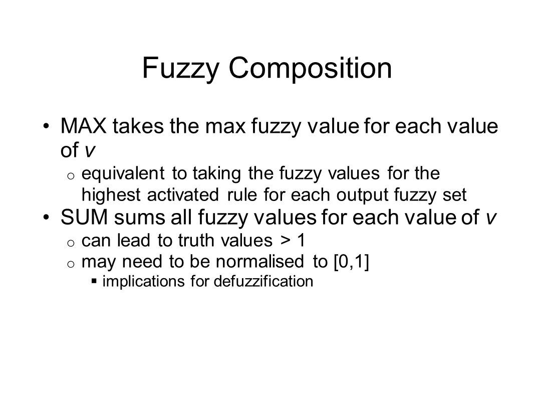 Fuzzy Composition MAX takes the max fuzzy value for each value of v