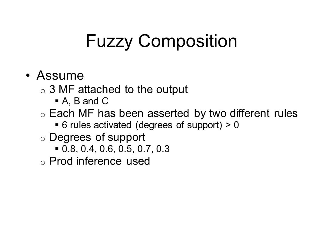 Fuzzy Composition Assume 3 MF attached to the output