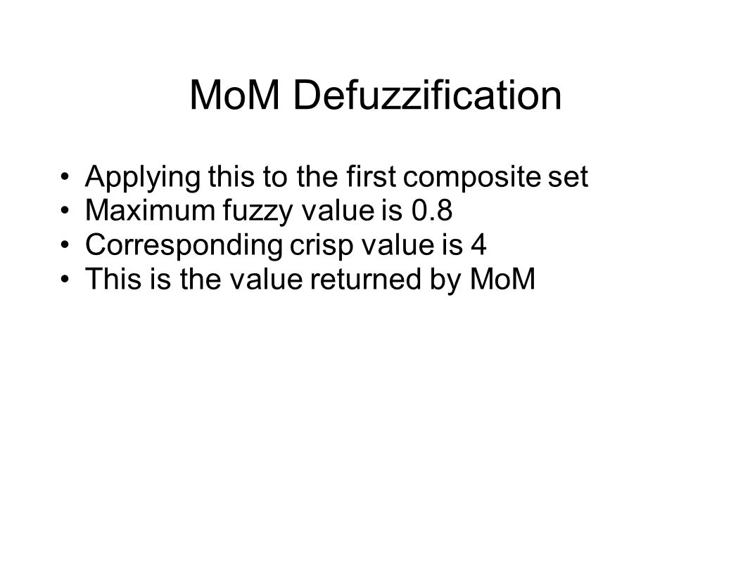 MoM Defuzzification Applying this to the first composite set