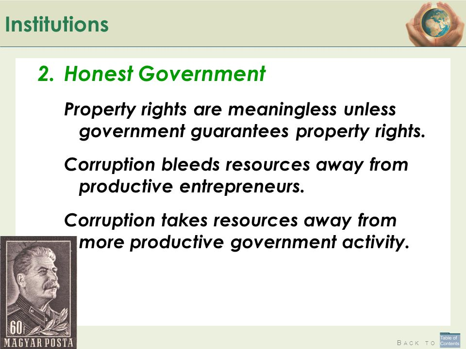 Institutions Honest Government