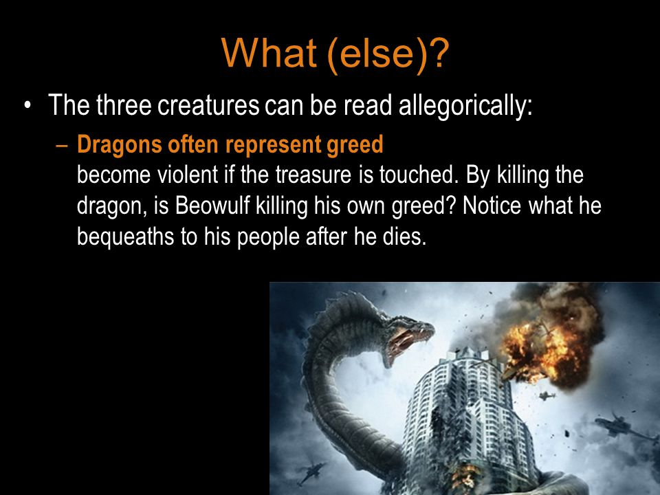 What (else) The three creatures can be read allegorically: