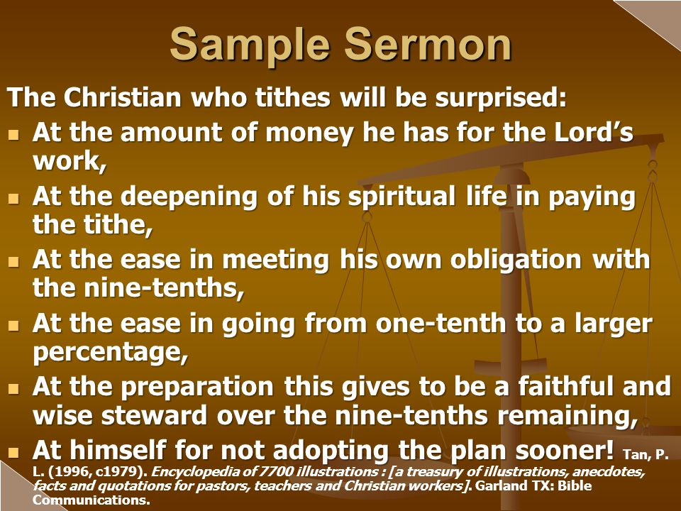 Sample Sermon The Christian who tithes will be surprised: