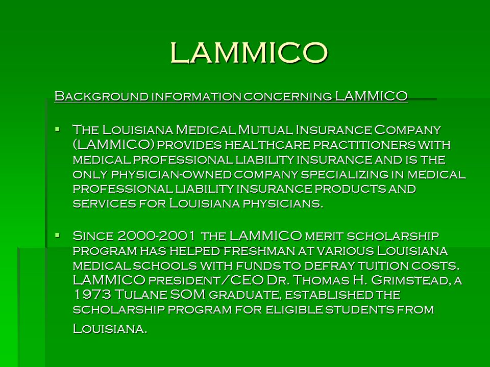 LAMMICO Background information concerning LAMMICO